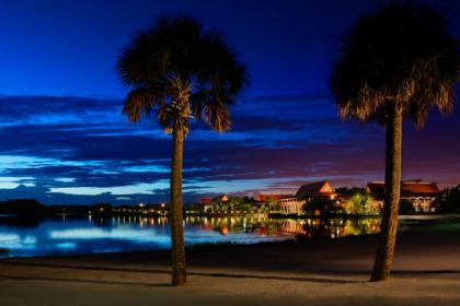 Disney's Polynesian Village Resort Beach at night