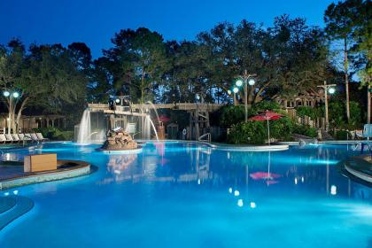 Disney's Port Orleans Resort - Riverside pool at night