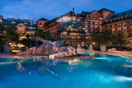 Disney's Wilderness Lodge Pool at night